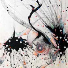 SUBLIMATION - Acrylique, crayon et gommettes sur papier.