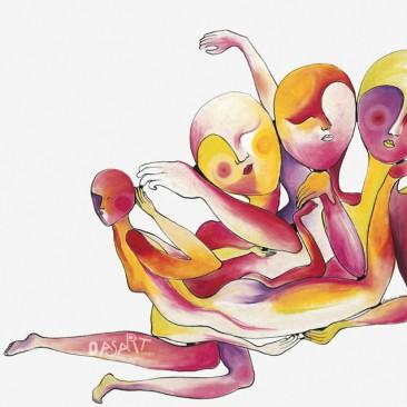 <br>LES CORPS ENTREMÊLÉS <span style='color: #5E7C98'>- Pastels à l'huile sur papier -</span> <em><span style='color: #FF0000;font-size: 10px;'>VENDUE</span></em><br><br>
