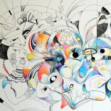<br>NOYER ROYAL <span style='color: #5E7C98'>- Encre et crayons de couleur -</span> <em><span style='color: #FF0000;font-size: 10px;'>VENDUE</span></em><br><br>
