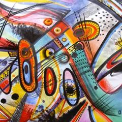 <br>FLÛTE DE PAON <span style='color: #5E7C98'>- Feutres Pantone Tria, crayons de couleur et fusain sur papier -</span> <em><span style='color: #FF8D00;font-size: 10px;'>PAS À VENDRE</span></em><br><br>