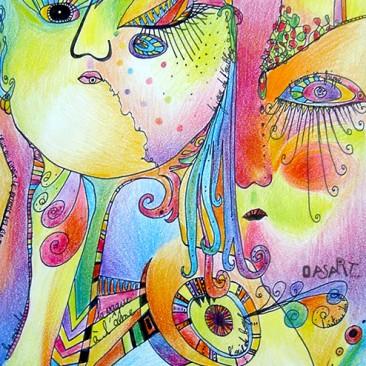 <br>LA VAGUE À L'ÂME <span style='color: #5E7C98'>- Stylo plume, crayons de couleur et crayons gras sur papier -</span> <em><span style='color: #FF8D00;font-size: 10px;'>PAS À VENDRE</span></em><br><br>