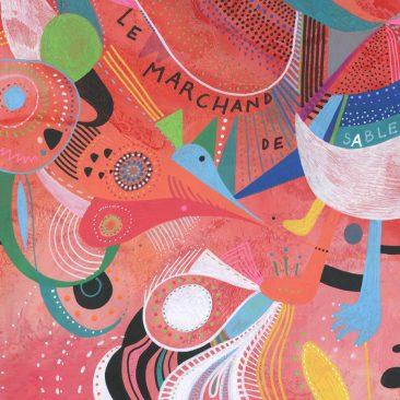 <br>LE MARCHAND DE SABLE - 50 x 50 cm, acrylique sur bois.<br><br> Détail<br><br>