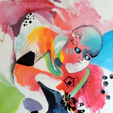 PORTE-BONHEUR - Acrylique et feutre sur papier.