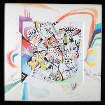 <br>AU VOLANT <span style='color: #99AEC0'>- CARRÉ MAGIQUE N°2</span><br> <span style='color: #5E7C98'>21x21 cm, encre de chine et crayons de couleur -</span> <em><span style='color: #FF0000;font-size: 10px;'>VENDUE</span></em><br><br>