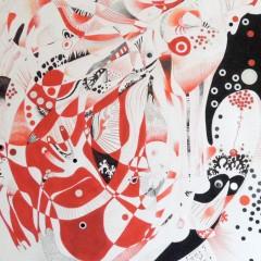 <br>BOMBARDE <span style='color: #5E7C98'>- Acrylique, papier et gommettes sur papier -</span> <em><span style='color: #FF0000;font-size: 10px;'>VENDUE</span></em><br><br>