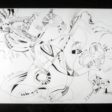 <br>L'AIGUILLE CREUSE <span style='color: #99AEC0'>- PLUME N°1</span><br> <span style='color: #5E7C98'>42 x 30 cm, rotring ArtPen et son encre noire sur papier dessin à grain -</span> <em><span style='color: #00CB65;font-size: 10px;'>DISPONIBLE à l'Atelier de Pornichet - 430 €</span></em><br><br>