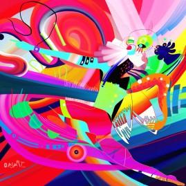 <br>LE PUPILLE DU CYCLONE <span style='color: #99AEC0'>- PEINTURE NUMÉRIQUE</span><br> <span style='color: #5E7C98'>Tirage photographique numéroté sous cadre 57 x 57 cm -</span> <em><span style='color: #00CB65;font-size: 10px;'>DISPONIBLE à l'Atelier de Pornichet - 500€</span></em><br><br>  <span style='color: #1e73be;'><em>PUPILLE À ESTAMPILLER<br>  Du centre tu fais valser les nuages :<br> Une couleur par ici, une nuance par là,<br> Un coordonné de lumière s'enroule autour de toi<br><br>  Bombardiers, éclairs, tempêtes,<br> Tout ça n'est pour toi que fête et spectacle mouvant,<br> Collection de motifs à émotions,<br> Prestation prestigieuse,<br> Agitation de prestidigitateur dans l'arène,<br> Cirque<br><br>  Pupille de toutes les nations,<br> Tu vois et renvoies l'éphémère,<br> L'intouchable et l'impression sont à toi,<br> Dompteur de vives visions,<br> Dresseur de zébrures volup tueuses.<br><br>  Rayonnant,<br> Tu traces d'un simple geste<br> Ce qui ne peut s'écrire<br><br>  Mais en t'escrimant de la sorte,<br> Au cœur du danger qui t'évite<br> Tu ne lévites que pour un temps<br> Ou deux ?<br><br>  Attention aux cornes qui se ruent sur toi,<br> Virevolte et lance ton drapeau,<br> Ou c'en est fini<br> Je ne donne pas chair de ta peau<br><br>  Un murmure s'achemine jusqu'à ton oreille,<br> Boursouflée par le vacarme ;<br> Le souffle du ciel asthmatique<br> Qui te crache au visage ses rayons vociférants<br><br>  Délacé, tu apprends à naviguer dans ces flots<br> À peine humides, lacérant ces vents lascifs amarrés à toi<br> Et t'en sers de lasso<br> Ou bien fouet ?<br> Tu tires les voiles, t'envoles<br><br>  C'est bientôt l'instant incisif,<br> Telles celles d'une coccinelle tes ailes<br> Aux rétines réticentes<br> Se soulèvent,<br> Se décollent en hésitant,<br> En regard d'yœufs acérés sérieux rieurs<br><br>  Comme toi elles se séparent de l'attraction du firmament,<br> Moment dépassé :<br> Membres libres, fermes, légers se forment et s'ouvrent,<br> Parés.<br><br>  P