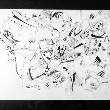 <br>MOTUS DANS L'ŒUF : ODE <span style='color: #99AEC0'>- PLUME N°2</span><br> <span style='color: #5E7C98'>42 x 30 cm, rotring ArtPen et son encre noire sur papier dessin à grain -</span> <em><span style='color: #00CB65;font-size: 10px;'>DISPONIBLE à l'Atelier de Pornichet - 430 €</span></em><br><br>