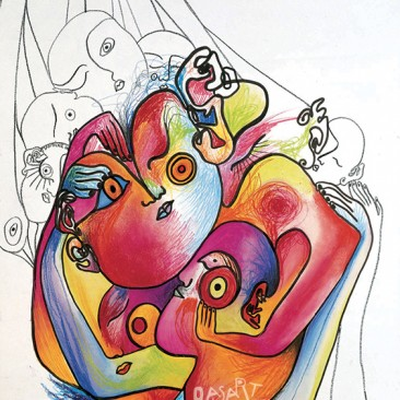 <br>PELOTE <span style='color: #5E7C98'>- Pastels à l'huile, crayons et feutre sur papier -</span> <em><span style='color: #FF0000;font-size: 10px;'>VENDUE</span></em><br><br>