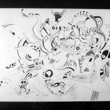 <br>TÂCHES DE RENAISSANCE <span style='color: #99AEC0'>- PLUME N°3</span><br> <span style='color: #5E7C98'>42 x 30 cm, rotring ArtPen et son encre noire sur papier dessin à grain -</span> <em><span style='color: #00CB65;font-size: 10px;'>DISPONIBLE à l'Atelier de Pornichet - 430 €</span></em><br><br>