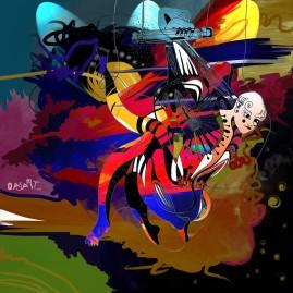 <br>TRAPÈZIENNE <span style='color: #99AEC0'>- PEINTURE NUMÉRIQUE</span><br> <span style='color: #5E7C98'>30 x 30 cm, tirage photographique numéroté sous cadre -</span> <em><span style='color: #00CB65;font-size: 10px;'>DISPONIBLE</span></em><br><br>  <span style='color: #1e73be;'><em>En équilibre sur les cordes du violon, la femme artiste survole son monde.<br> Lève les yeux, elle est entre toi et le ciel. Promesse d'un au-dessus rempli de pureté.</em></span><br> <span style='color: #333399;'>Christophe Rousselle</span><br><br>