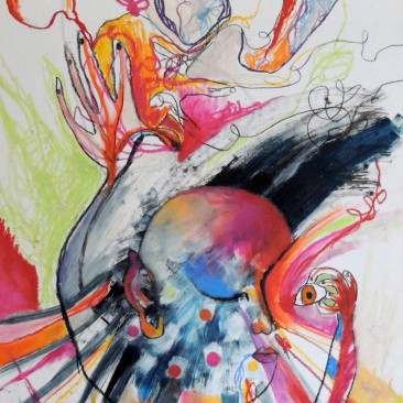 <br>VISITE MÉDICALE <span style='color: #5E7C98'>- Crayons gras et acrylique sur papier -</span> <em><span style='color: #00CB65;font-size: 10px;'>DISPONIBLE</span></em><br><br>