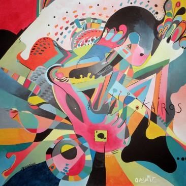 <br>KAIROS <span style='color: #5E7C98'>- 80 cm x 80 cm, acrylique sur toile -</span> <em><span style='color: #FF0000;font-size: 10px;'>VENDUE</span></em><br><br>  <span style='color: #1e73be;'><em>Une rencontre, c'est quelque chose de décisif, une porte, une fracture, un instant qui marque le temps et crée un avant et un après.</em></span><br> <span style='color: #333399;'>Éric-Emmanuel Schmitt</span><br><br>