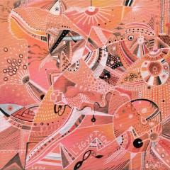 <br>L'ÉGYPTIEN <span style='color: #99AEC0'>- AUX QUATRE CHEMINS N°2</span><br> <span style='color: #5E7C98'>20 x 20 cm, technique mixte sur carton toilé -</span> <em><span style='color: #00CB65;font-size: 10px;'>DISPONIBLE à l'Atelier de Pornichet - 290 €</span></em><br><br>