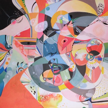 <br>SEMIS LUNAIRE <span style='color: #5E7C98'>- 80 cm x 80 cm, technique mixte sur toile -</span> <em><span style='color: #FF0000;font-size: 10px;'>VENDUE</span></em><br><br>