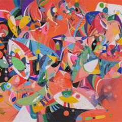 <br>NŒUDS SUR ÉCOUTE <span style='color: #99AEC0'>- PETIT BOIS</span><br> <span style='color: #5E7C98'>Acrylic paint on wood - 100 x 70 cm</span><br/><em><span style='color: #FF0000;font-size: 10px;'>SOLD</span></em><br><br>